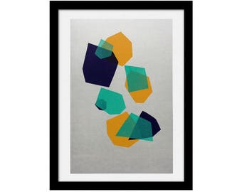 Shapes A3 limited edition screen print, hand-printed