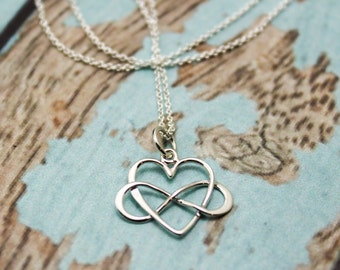 Infinity Heart Charm Necklace in Sterling Silver