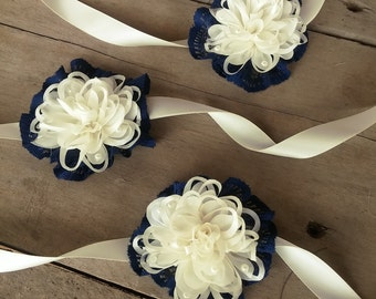 Navy blue corsage, flower corsage, wedding corsage, mother of the bride corsage, pin corsage