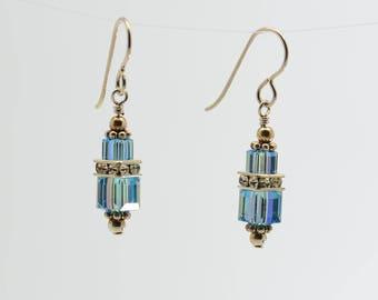 Light Blue Aquamarine Swarovski Crystal Squaredelle Earrings // March birthstone earrings // Special occasion earrings // Bridesmaid earring