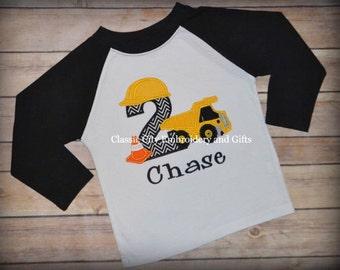 Raglan dump truck construction birthday shirt with cone, first birthday, second birthday, third birthday, fourth birthday