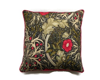 """William Morris """"Seaweed"""", Arts and Crafts, dark pink, beige, olive green and black cotton cushion cover, throw pillow cover, home decor."""