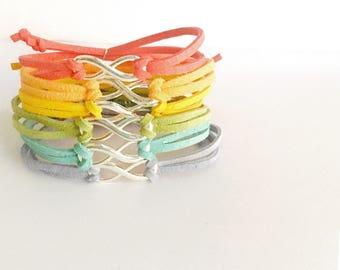 bracelet infini, daim beacelet, bracelet rainbow, bracelets d'été, des bracelets pour enfants, bijoux pour elle, meilleurs amis bracelet, bff