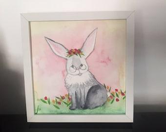 Hipster Bunny - Original watercolor painting