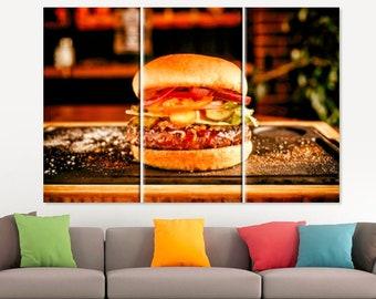 Sandwich Canvas Print Sandwich Gift Food Wall Art Kitchen Wall Art Bar Decor Restaurant Decor Hamburger Wall Art Foodie Gift Kitchen Decor