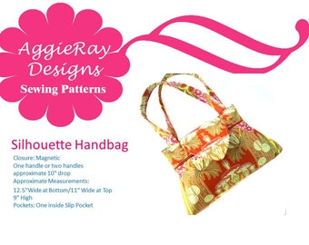 INSTANT DOWNLOAD PDF Tutorial Sewing Pattern Handbag Purse:  Silhouette Handbag Purse Create and Sell Product