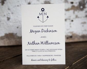 Anchor Wedding Invitation, Nautical Wedding Invitation- Anchor Kraft Wedding Suite : A7 Wedding Invitations