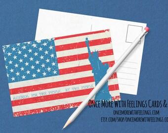 American Flag Statue of Liberty Patriotic Postcards In Bulk (Item #P-11)