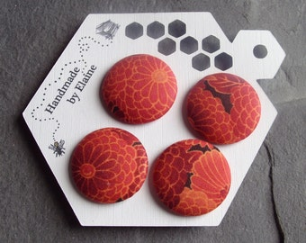 Fabric Covered Buttons - 4 x 28mm Buttons, Handmade Button,Autumn Chrysanthemum Buttons, Persimmon & Marigold Orange, Cinnamon, Pumpkin,2847