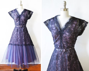 50s purple lace dress, vintage 1950s lace party dress, 1950s formal dress, small s
