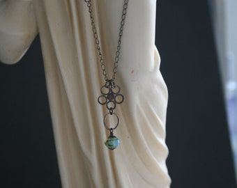 "Amazonite, Swarovski pearl 25"" long oxidized sterling silver necklace"