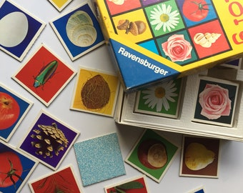 Vintage memory game, complete Ravensburger junior memory game cards, 36 pairs from 1974