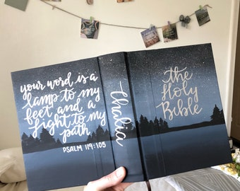 Custom Hand Painted Bible // Stary Night