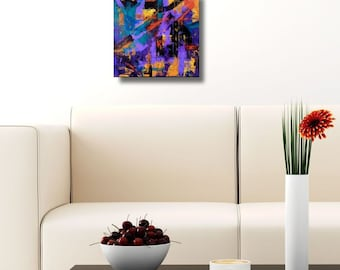 Contemporary art abstract painting modern purple indigo blue orange