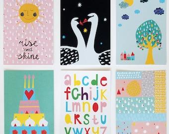 SALE! Set of six postcards #2