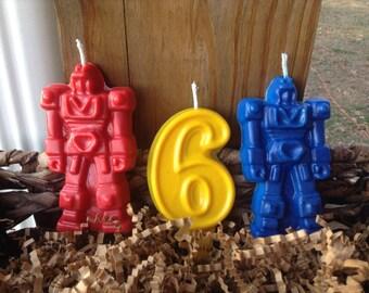 Robot d'anniversaire bougies ensemble de 3 pour 6.00