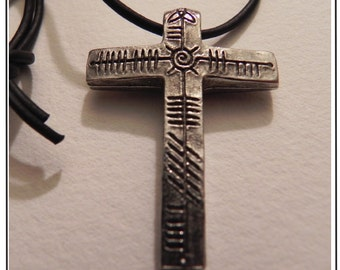 Jesus Christ Cross Ogham Pewter Pendant