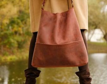 Genuine leather hobo bag with regulated handle - mat leather shoulder bag