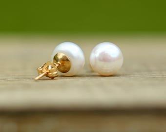 14K Gold Filled Ivory White Pearl Stud Earrings, Bridal Earrings, Bridesmaid Gift, Real Pearl Studs, Freshwater Pearl Earrings, 6-11mm