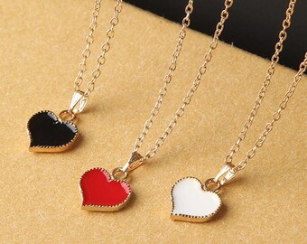 Cute enamel heart pendant gold plated chain necklace /fabulous gift