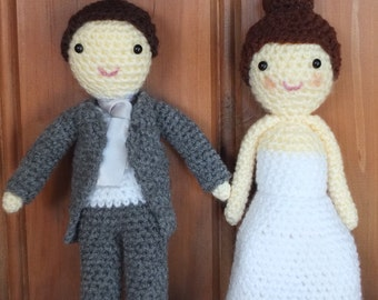 Bride and Groom Dolls - Crochet Figures by Little Gems Crochet - The perfect wedding gift!