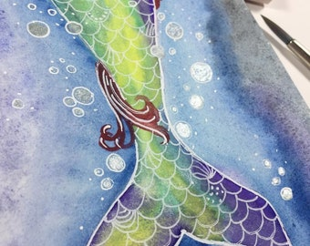 Original Mermaid Tail Painting