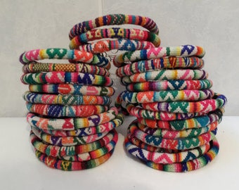 Wholesale Lot 10 Peruvian vintage fabric textile Bracelets Handmade Peru