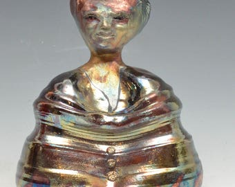 Abstract Buddha Seated in Meditation in Brilliant Shimmering Raku Ceramics