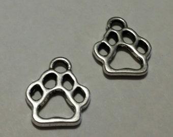 Paw Print Charms - 10 pcs. - Silver Paw Prints - Silver Dog Charms - Animal Charms -  Dog Paw Charms - Paw Charms - Foot Print Charms