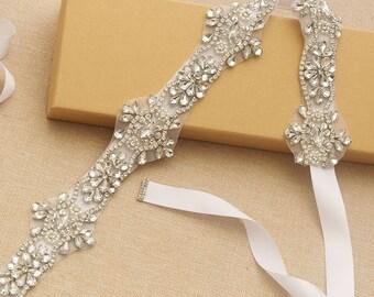 Long Slim Rhinestone Bridal Sash/ Wedding Sash/ Bridal Belt/ Crystal Wedding sash