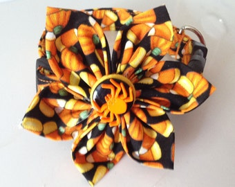 Halloween Flower Collar for Dogs and Cats with Candy Corn and Pumpkins