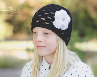 Black Hat, Black Crochet Hat, Chemo Cap, Chemo Gift, Black Beanie, Kids Beanie, Adult Beanie, Womens Hat, Skull Cap, Hat with Flower