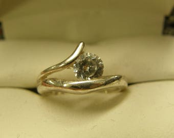 Dainty Crystal Sterling Silver Ring - Size 6 1/2