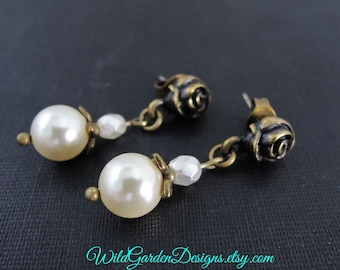 Victorian Style Rose Post Earrings Pearl Wedding Jewelry Romantic Style Jewelry Small Post Dangles Antiqued Brass and Pearl Bridal Earrings