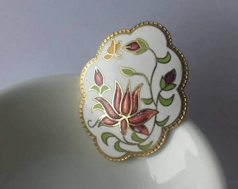 Cloisonne Enamel Vintage Brooch Pin Flower Butterfly Lotus Blossom Buds Spring Springtime Scalloped Edge Gold