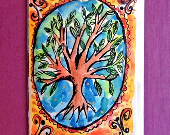 Tree of Life Art, Hand Painted Card, Tree Art, Tree Painting, Jewish Cards, Handmade Card, Colorful Original Painting, Card to Frame