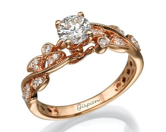 Rose Gold Diamond Engagement Ring With Natural Diamonds In Unique leaf Design