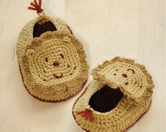 Crochet Pattern Baby Booties Lion Crochet Preemie Shoes Lion Knitted Newborn Socks Lion Animal Baby Booties Crochet Patterns Lion Appliques