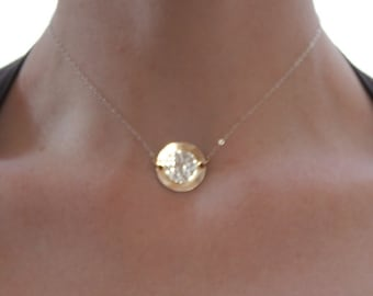 Simply Stunning in Two-Tone - Hammered Sterling Silver and Gold Filled Disc Choker Necklace