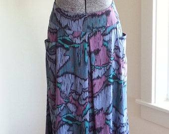 80s Multicolored Crazy Print High Waisted Lightweight Rayon Skirt