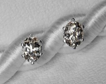 Morganite Stud Earrings in Silver, 8 x 6 mm