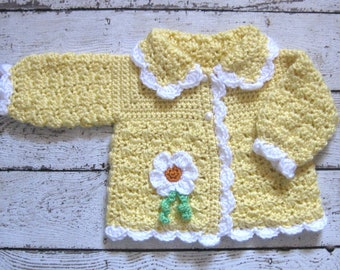 Yellow Crochet Baby Sweater with flower Knit Baby Girl Sweater Yellow newborn Sweater Yellow Baby Girl Cardigan yellow toddler sweater