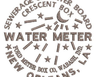 "New Orleans Water Meter - Machine Embroidery Design Download (4"" x 4"" Hoop or larger)"