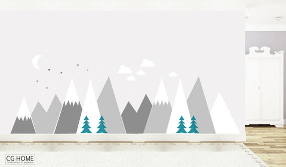 Mountains Wall Decal Baby Room Decor Moon Stars Clouds Nursery Crib Pattern for Kids Toddlers Room Wall Stickers Self Adhesive #mountains017