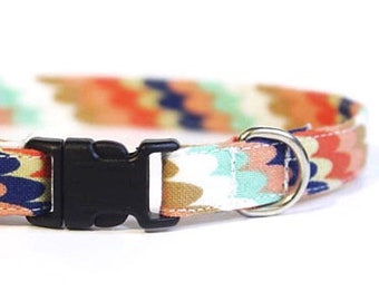 Bright Rainbow Cat Collar | Fun Multicolor Fashion Fabric | Safety Kitten Collar | Handmade | Adjustable | Small Dog Collar | Unique Stripes