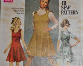 Vintage 1960s Simpliity 8367 Sewing Pattern, Sleeveless Dress, Jumper, Size 16, Bust 38, Flarred Skirt, Mini, Scoop Neck UNCUT