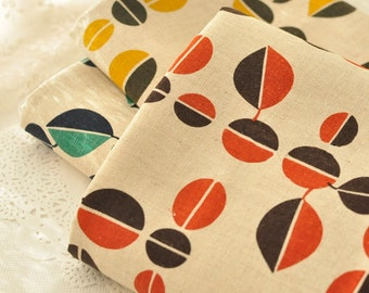Cotton Linen fabirc, Leaves in Red Yellow Green on Beige Cotton Fabric  - 1/2 yard.