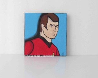 Mini Star Trek Scotty Cartoon Pop Art Sci Fi Art Painting - 4 x 4 Inches