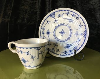 Vintage Furnivals Limited Blue 29 Cappuccino cup and saucer Trade Mark England