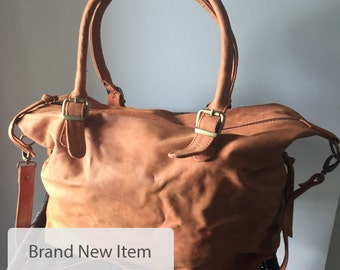 Brown Leather Tote, Leather Tote Bag, Handmade Leather Bag, Tote Bag With Zipper, Woman Leather Day Bag, Customized Bag